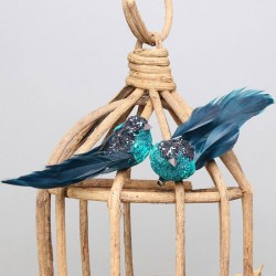 Glitter Clip on Birds Blue Pack of 2  - X21002