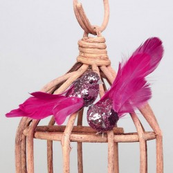 Glitter Clip on Birds Pink Pack of 2  - X21001