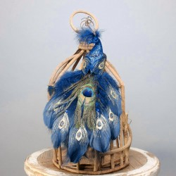 Jewel Clip on Peacock Blue 30cm  - X21005
