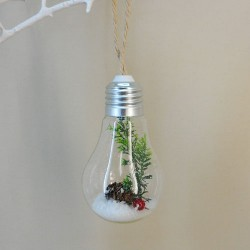 Glass Light Bulb Christmas Baubles with Spruce - 17X018