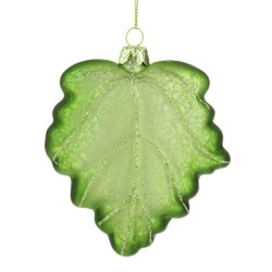 Glass Christmas Baubles Green Maple Leaf - 17X048