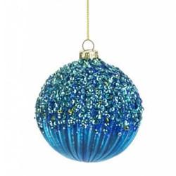 80mm Glass Victorian Christmas Baubles Dark Blue - 17X006