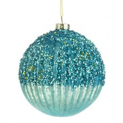 100mm Glass Victorian Christmas Baubles Light Blue - 17X007