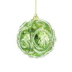 85mm Glass Christmas Baubles Green Swirls - 17X003