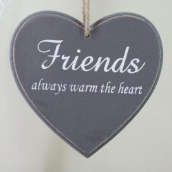 11.5cm Wooden 'Friends' Hanging Heart Sign Grey - 14X123