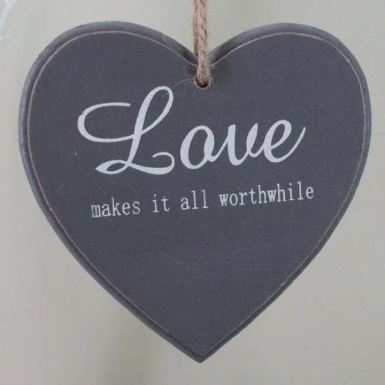 11.5cm Wooden 'Love' Hanging Heart Sign Grey - 14X126
