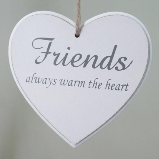 11.5cm Wooden 'Friends' Hanging Heart Sign White - 14X122