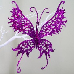 18cm Glitter Butterfly on Clip Purple - 14X028