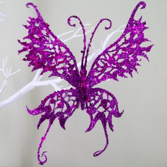 18cm Glitter Butterfly on Clip Purple - 14X028