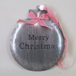 16cm Metal Merry Christmas Bauble Hangers - 15X076