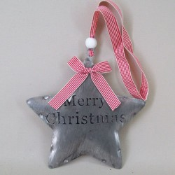 17cm Metal Merry Christmas Star Hangers - 15X079