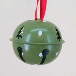 45mm Metal Sleigh Bell Tree Decorations Green with Spot - 14X120