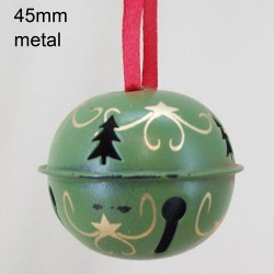 45mm Metal Sleigh Bell Tree Decorations Green Swirl - 14X112