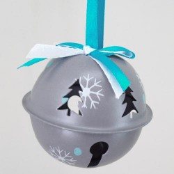60mm Metal Sleigh Bell Tree Decorations Grey - 14X097