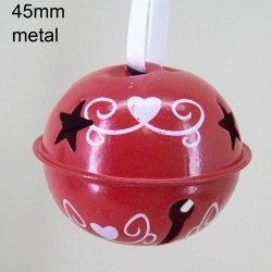 45mm Metal Sleigh Bell Tree Decorations Red Swirls - 14X113