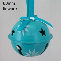 60mm Metal Sleigh Bell Tree Decorations Teal - 14X098