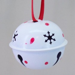 45mm Metal Sleigh Bell Tree Decorations White with Spot - 14X119
