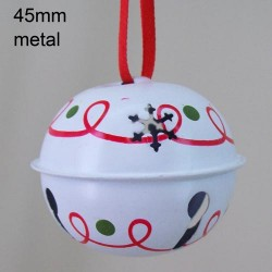 45mm Metal Sleigh Bell Tree Decorations White Swirls - 14X111
