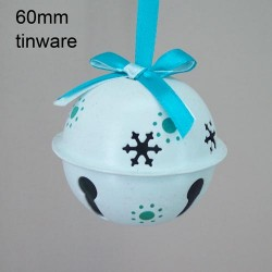 60mm Metal Sleigh Bell Tree Decorations White Teal - 14X096