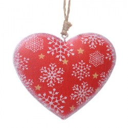 8cm Rustic Tinware Christmas Tree Decoration Red Snowflake Hearts - 14X107
