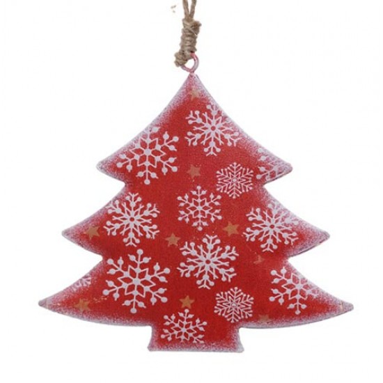 10cm Rustic Tinware Christmas Tree Decorations Red Snowflake Trees - 14X109a