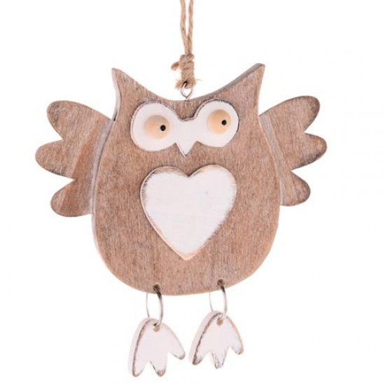 12cm Rustic Wooden Owl Tree Decoration or Gift Tag - 14X105