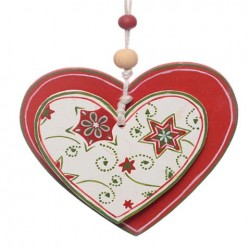 8cm Rustic Wooden Hearts Christmas Tree Decoration or Gift Tag - 14X110