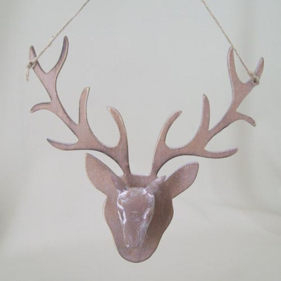19cm Rustic Wooden Stags Head Tree Decoration or Wall Hanging - 14X103