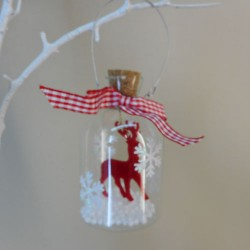 Scandi Style Glass Bottle Baubles with Red Reindeer - 17X016