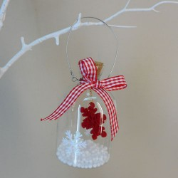 Scandi Style Glass Bottle Baubles with Red Snowflake - 17X032