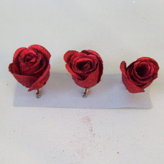 Christmas clip on Bauble Roses 3 Pack in Red - 16X032