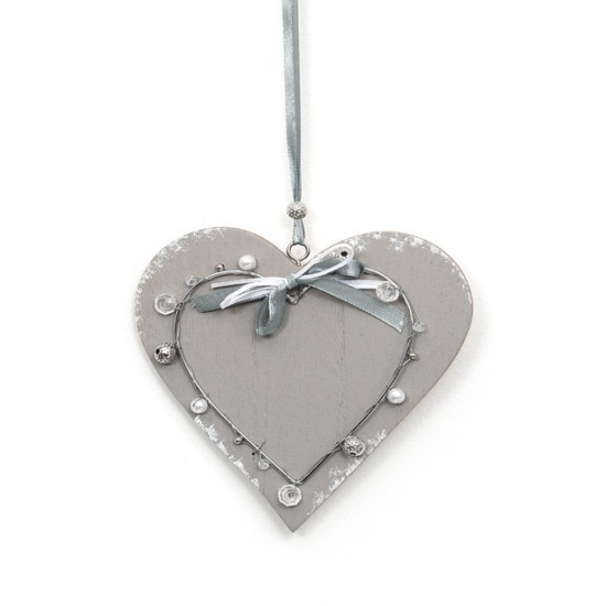 Wooden Heart Hanging Decoration - 14X030