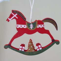 Wooden Rocking Horse Christmas Tree Decoration Red - 14X108a