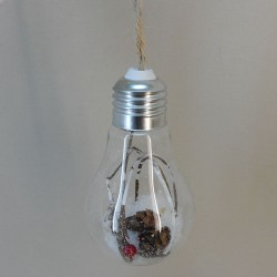 Glass Light Bulb Christmas Baubles with Red Berries - 17X019