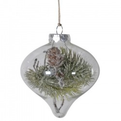100mm Snowy Pine Filled Clear Glass Christmas Baubles - 15X125