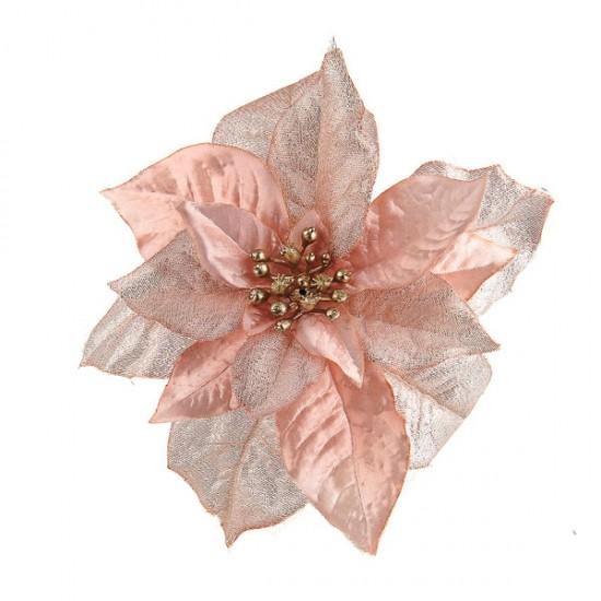 17cm Poinsettia on Clip Pink Sparkle - X19079