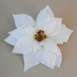22cm Velvet Poinsettia on Clip Cream - X19033