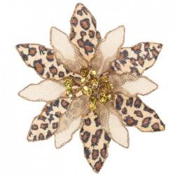 Animal Print Poinsettia Clip Tree Decoration - X21048