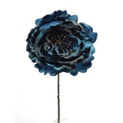 Artificial Christmas Peony Flowers Midnight Blue Glitter - 14X016