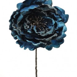 Artificial Christmas Peony Flowers Midnight Blue Glitter - 14X016