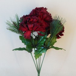 Artificial Carnations and Spruce Posy Burgundy - X19014 BAY3C