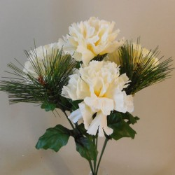 Artificial Carnations and Spruce Posy Cream - X19024