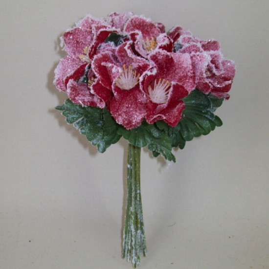 Artificial Christmas Roses Posy (Hellebores) Red Frosted - 15X049