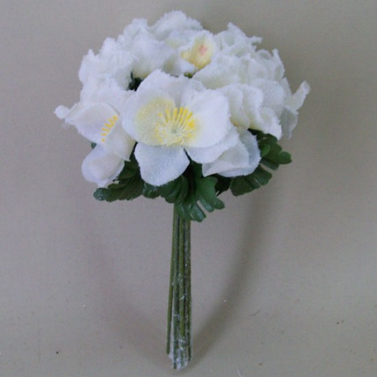 Artificial Christmas Roses Posy (Hellebores) White Frosted - 15X056