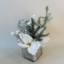 Artificial Flower Arrangements | Frosted White Magnolias and Berries - 17X131 FR 2B
