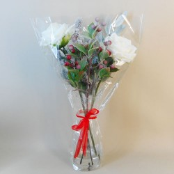 Artificial Flower Arrangements | White Roses and Berries in Vase - 17X135 FR 2C