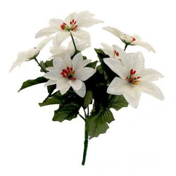 Artificial Poinsettias Bush White (7 stems) - 15X128