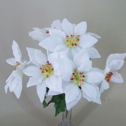 Artificial Poinsettias Bush White (7 stems) - 15X120 BAY3