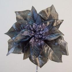 Artificial Poinsettias Charcoal Grey - 16X033