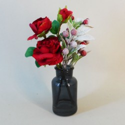 Artificial Flower Arrangements | Red Roses and Berries in Grey Vase - 18X086 FR 1C